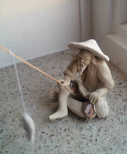 Chinese mud man bonsai figurine fisherman