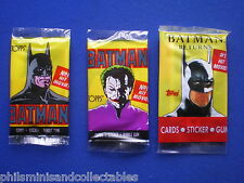 Topps UK  Bubble Gum ' Batman ' 3 Different  Sealed Unopened Packets 1989