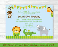 Baby Safari Jungle Printable Birthday Invitation Editable PDF