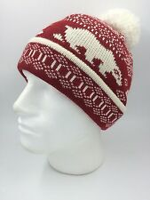 BOYS RED CREAM POLAR BEAR KNITTED BOBBLE HAT SIZE BNWOT 0353
