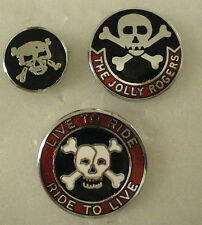 3 x MotorCYCLE MotorBIKE Enamel Lapel Pin Badges LIVE TO RIDE SKULL & CROSSBONES