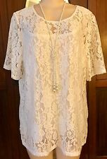 WOMENS PLUS TOP 2X NEW IVORY WHITE LACE TUNIC CAMI 18 20 XXL NWT CUTE SPRING