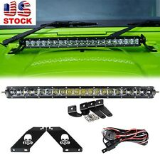 20Inch 100W LED Light bar+Upper Engine Hood Mount Bracket 07-16 Jeep JK Wrangler