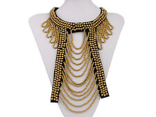 Tribal & Ethnic Golden Round Beads Cut Out Design Bib Necklace
