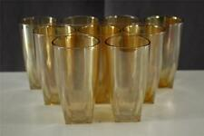 Vintage Jeannette Glass Depression 9PC Lot Marigold Iridescent Glass Tumblers