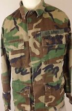Mens U.S. ARMY Coat Woodland Camouflage Size Small Long With Patches