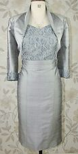 BNWT Paule Vasseur Silver Silk Mother of Bride Groom Races Dress & Jacket Sz 14