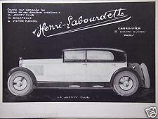 PUBLICITÉ 1928 HENRI LABOURDETTE CRÉATIONS AUTO LE JOCKEY CLUB LA BAGATELLE