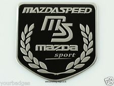 Brushed Aluminium Mazda Speed Sport Shield badge finished in black