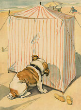 BULLDOG CHARMING DOG GREETINGS NOTE CARD CUTE DOG LOOKS INTO TENT ON THE BEACH