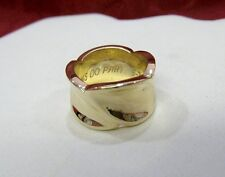 14K PDP YELLOW GOLD POLISHED WIDE 12MM CURVED HEAVY WEDDING BAND RING SIZE 6.75