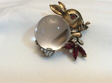 Vintage Trifari Sterling Jelly Belly Lucite Bunny Brooch