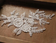 Bridal Beaded Lace Applique Silver Corded Wedding Motif Floral Ivory Trim 1 Pair