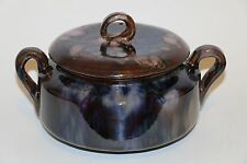 LARGE POTTERY COVERED DISH SIGNED COITEUX QUEBEC CANADA