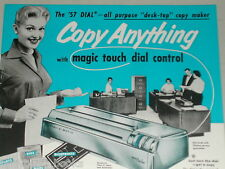 1957 Apeco photocopier advertisement, Dial-a-Matic Auto-Stat, cute secretary