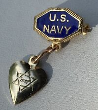 Vintage WWII Enamel JEWISH Sweetheart Lapel Pin US NAVY Homefront Jewelry USN