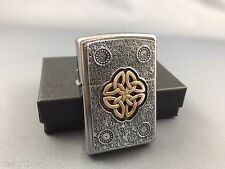 ZIPPO Celtic Art Emblem rare and awesome collectible lighter 14k dusted gold