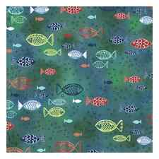 Floating Fish in Jade Ocean Waters, Dream Boats, Quilting Treasures (By 1/2 yd)