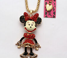 V18xin# Betsey Johnson New Shiny red crystal enamel mouse necklace