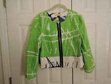 SoCa ST. JOHN Lime Green & White Zip Up Jacket Womens Size 14