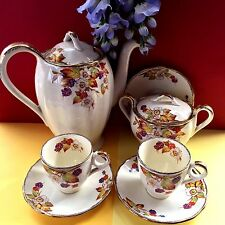 """Vintage Grindley """"Blackberry"""" Coffee Set For Two,Coffee Pot, Sugar Bowl, 2 Duos"""