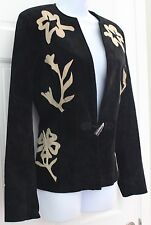 Isabel Womens Fashionable Suede Leather Jacket Blazer SZ M Black Beige Floral