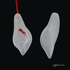 2 White Jade Nephrite 3D Carved Flower Bud Pendant Earring Beads #68044