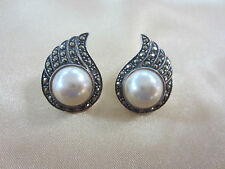 Sterling Silver Winged Pearl Post Earrings with Marcasite Wings