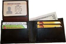 New man's skinny leather bi-fold wallet 6 bank card holder 2 billfolds 1 ID NWT+