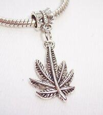 Plant Maple Leaf Large Hole Dangle Bead for Silver European Style Charm Bracelet