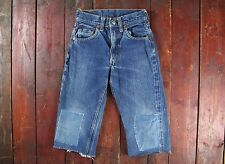 VTG 50s 60s LEVI'S 302-0117 BIG E CUT DENIM JEAN SHORTS TALON 42 USA KIDS W21
