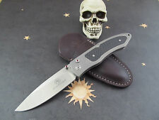 Arno Bernard Button Lock Folder S35VN Stainless Blade Titanium CF Inlay
