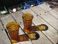 "Vintage 6"" * WHITEHALL * Amber Glass Juice Tumblers Set of 2 Indiana Colony"