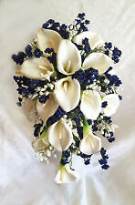 Navy Blue & White ~ FULL WEDDING SET ~ Calla Lilies Silk Wedding Flowers Bouquet