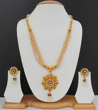 Long Necklace Earrings Jewelry Indian Gold Plated Ethnic Kundan Chain Set 22k