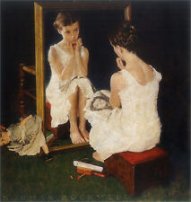 Girl at the Mirror  by Norman Rockwell   Giclee Canvas Print Repro