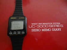 VERY RARE VINTAGE SEIKO UC-3000 LCD MEMO  WATCH & DOCKING STATION MINT CONDITION