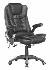 FoxHunter Black Luxury Leather 6 Point Massage Office Computer Chair Reclining