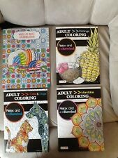 Lot of 4 Adult Coloring Books- Mandalas - Animals - Etchings - Cats - Dogs