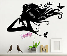 Vinyl Decals Sticker Girl Wall Decal for Beauty Hair Salon Emblem Decor TK4