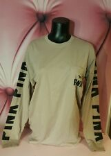 Victorias Secret PINK Shirt Campus Tee Graphic Long Sleeve Tan S Small NEW