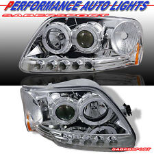 97-03 FORD F150 97-02 EXPEDITION DUAL HALO PROJECTOR HEADLIGHTS + LED PARKING