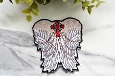ANGEL WINGS Badge Iron on Patch Patches Pin Sew On Embroidered Stitches Cross