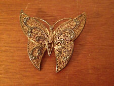 Vintage Alice Caviness Germany Sterling Silver Gold Washed Butterfly Pin Brooch