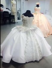 Flower Girl Dresses 2016 Princess Ball Gown Pearls Lace Up First Communion Child