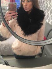 Black Real  Fox Fur Collar Shawl Wrap Cape Taxidermy Stole
