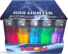 50 Neon Premium Disposable Butane Full Size Gas Lighters New Free Shipping