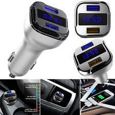 Dual USB Quick Charge 24W Fast Car Phone Charger 2.4A/1.5A LED Voltage Display