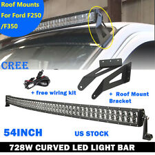 """54"""" 728W Curved CREE LED Light bar +Mount Brackets Fit For 99-15 Ford F250 F350"""