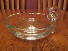 Lovely Crystal Art Glass Bowl Dish With Applied Snail Style Handle